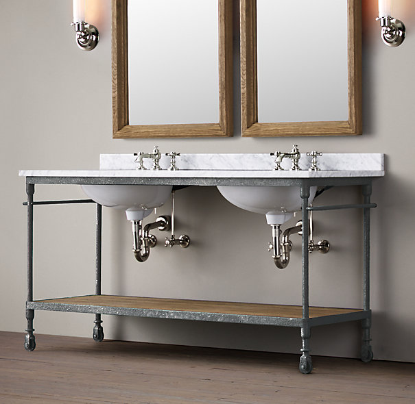 Master bathroom console sink elliondecor Double sink washstand